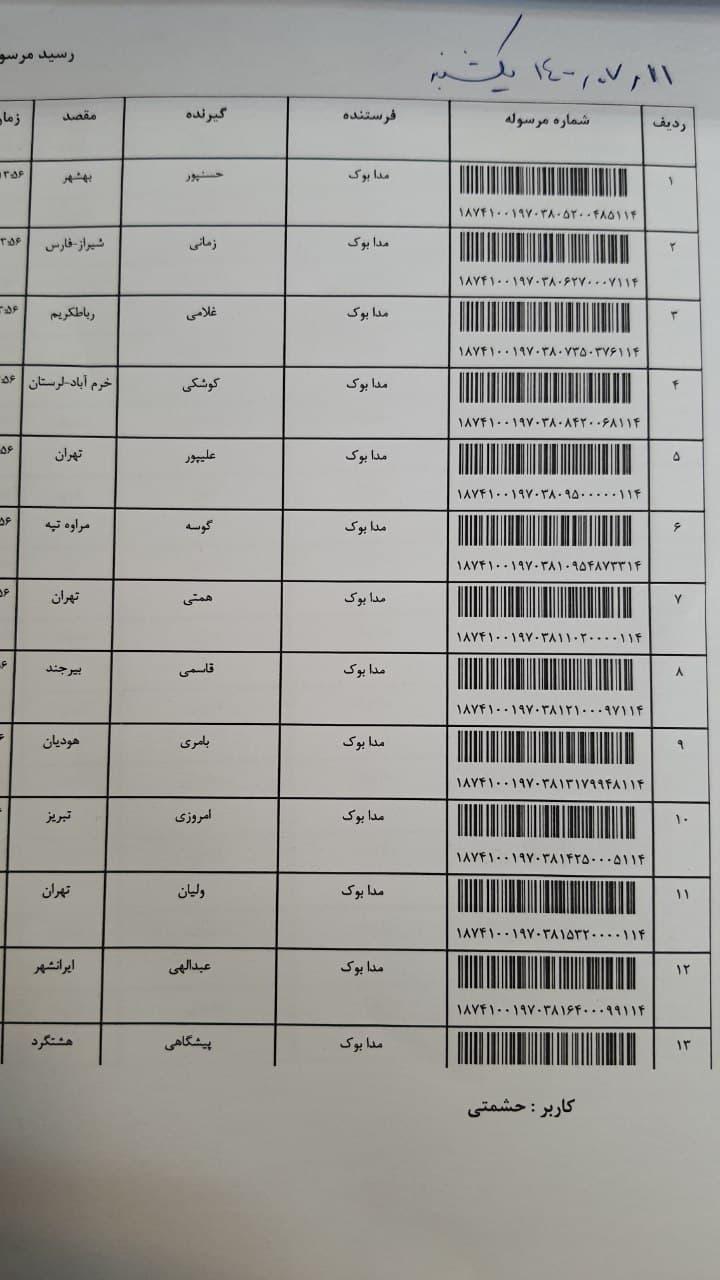 کد رهگیری 11 مهر 1400 1